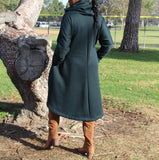 Nakidbird-Hunter Green Fleece Hooded Coat Dress, XS-5X-[handmade plus sized fashion]-Nakidbird