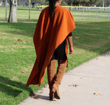 Nakidbird-Luxe Fleece Wrap Cape Poncho, Rust-[handmade plus sized fashion]-Nakidbird