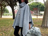 Turtleneck Fleece Poncho Cape Sweater, One Size 6 Colors
