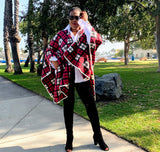 Nakidbird-Plaid Fleece Poncho One Size[handmade plus sized fashion]-free shipping-Nakidbird