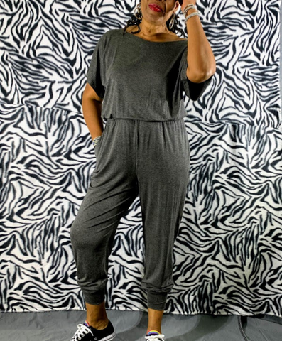 Nakidbird-Short Sleeve Loose Fitting Lounge Jumpsuit Sizes 4 to 24 -Free Shipping-[handmade plus size fashion]-Nakidbird