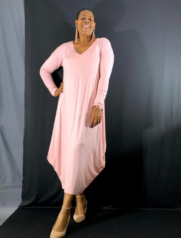 Nakidbird-Long Sleeve V-neck Formal Cocoon Maxi Dress - S-4XL -[handmade plus sized fashion]-Nakidbird