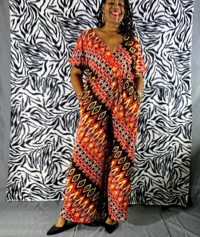 Nakidbird-V- Neck Wide leg Printed Jersey Jumpsuit Sizes 4-24Shipping-[handmade plus size fashion]-Nakidbird