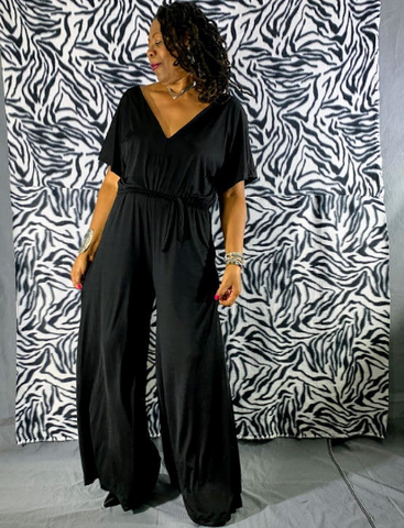 Nakidbird-Black Formal V- Neck Wide leg Jersey Jumpsuit-Free Shipping-[handmade plus size fashion]-Nakidbird