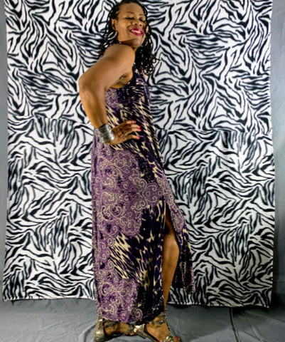 Nakidbird-Leopard Print Jersey Sleeveless Slit Maxi Dress XS-4X -[handmade plus sized fashion]-Nakidbird