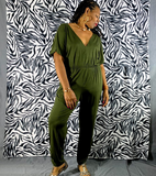 Nakidbird-V Neck Short Sleeve Ruched Jersey Jumpsuit  -[handmade plus sized fashion]-Nakidbird