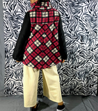Nakidbird-Red And Black Plaid Fleece Hoodie Turtleneck Sweater Coat S-3XL -Free Shipping-[handmade plus sized fashion]-Nakidbird