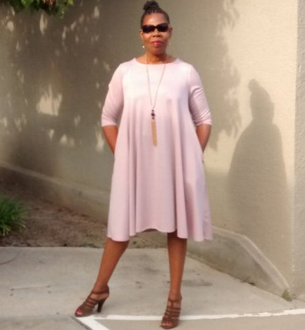 Nakidbird-Pink Swing Dress, Plus Size Trapeze Dress, XS-3X, 2 Colors-[handmade plus sized fashion]-Nakidbird