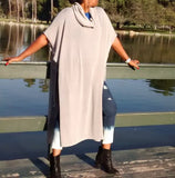 Nakidbird-Caftan Sweater, Slouchy Turtle Neck Poncho, 3 Colors-[handmade plus sized fashion]-Nakidbird