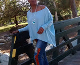 Nakidbird-Asymmetrical Over Sized Long Sleeve Tee-[handmade plus sized fashion]-Nakidbird