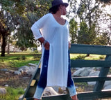 Nakidbird-Tee Shirt Maxi Dress, 3/4 Sleeve Knit Dress, XS-5X-[handmade plus sized fashion]-Nakidbird