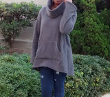 Nakidbird-Chunky Turtleneck Bell Sleeve Fleece Sweater, XS-4X-[handmade plus sized fashion]-Nakidbird