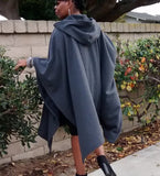 Nakidbird-Cape Poncho, Hooded Fleece Plus Size Cloak, One Size-[handmade plus sized fashion]-Nakidbird