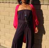 Nakidbird-Strapless Wide Leg Jersey Jumpsuit-[handmade plus sized fashion]-Nakidbird