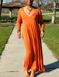 Nakidbird-Deep V Neck Long Sleeve Swing Maxi Dress, XS-5X-[handmade plus sized fashion]-Nakidbird