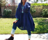 Nakidbird-Empire Waist Bohemian Gauze Dress, XS-5X, 2 Colors-[handmade plus sized fashion]-Nakidbird