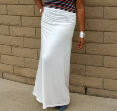 Nakidbird-Fold Over Knit Maxi Skirt-[handmade plus sized fashion]-Nakidbird