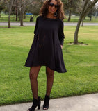 Nakidbird-Ponte Knit Swing Mini Dress, XS-3X, 3 Colors-[handmade plus sized fashion]-Nakidbird