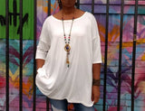Three Quarter Sleeve Scoop Neck Tee, S-4X