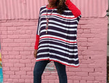 Nakidbird-Red White And Blue Stripe Cotton Knit Tee, XS-5X-[handmade plus sized fashion]-Nakidbird