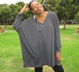 Nakidbird-Oversized V-Neck Long Sleeve Tee Top Tunic, XS-5X-[handmade plus sized fashion]-Nakidbird