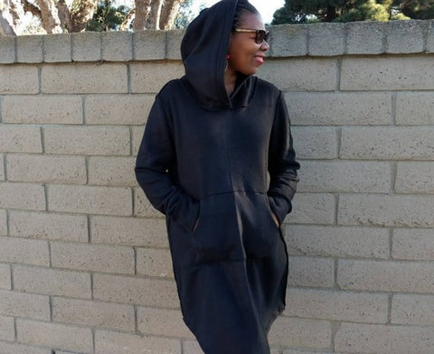 Nakidbird-Black Fleece Hoodie Dress, XS-4X-[handmade plus sized fashion]-Nakidbird