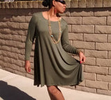 Nakidbird-Long Sleeve Swing Dress, XS-4X-[handmade plus sized fashion]-Nakidbird