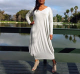 Nakidbird-V Neck Long Sleeve Cocoon Maxi Dress, 5 Colors, XS-5X,-[handmade plus sized fashion]-Nakidbird