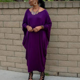 Nakidbird-Plus Size Bat Wing Jersey Caftan Maxi Dress, One Size-[handmade plus sized fashion]-Nakidbird