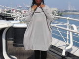 Nakidbird-Gray Plus Size Over Sized Textured Sweater, One Size-[handmade plus sized fashion]-Nakidbird