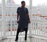 Nakidbird-High Low Sweatshirt Dress, Blue Denim, XS-4X-[handmade plus sized fashion]-Nakidbird