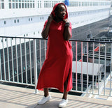 Nakidbird-French Terry Hoodie Sweatshirt Dress, XS-4X, 2 Colors-[handmade plus sized fashion]-Nakidbird