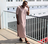 Nakidbird-Cotton Terry Short Sleeve Hooded Maxi Dress, XS-4X-[handmade plus sized fashion]-Nakidbird