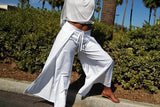 Nakidbird-White Wide Leg Cotton Wrap Pants, All Sizes-[handmade plus sized fashion]-Nakidbird