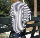 Nakidbird-Women's Cotton Knit Stripe Cocoon Cardigan, One Size-[handmade plus sized fashion]-Nakidbird