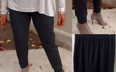 Nakidbird-Ponte Knit Pull On Cuffed Pant-[handmade plus sized fashion]-Nakidbird
