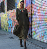 Double V Neck Jersey Maxi Dress