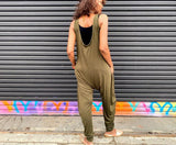Relaxed Fit Sleeveless Jersey Jumpsuit With Pockets, XS-XL