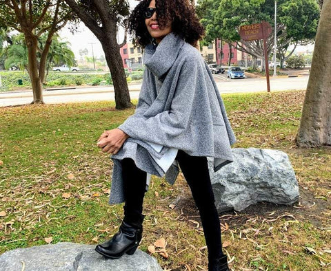 Nakidbird- turtleneck fleece poncho cape sweater-[handmade plus sized fashion]-free shipping-Nakidbird