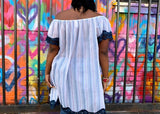Nakidbird-Lace Trim Off Shoulder Flutter Sleeve Boho Cotton Top XS-3X-[handmade plus sized fashion]-free shipping-Nakidbird