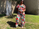 Nakidbird-Floral Off Shoulder Short Sleeve Jumpsuit-[handmade plus sized fashion]-free shipping-Nakidbird