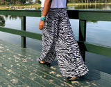 Nakidbird-High Waist Wide Leg Zebra Print Chiffon Palazzo Pants Sizes 4-26-[handmade plus sized fashion]-free shipping-Nakidbird