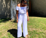 Nakidbird-Ruffled Off Shoulder Boho Jumpsuit 3 Colors-[handmade plus sized fashion]-free shipping-Nakidbird