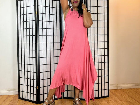 Nakidbird-Jersey Maxi Dress Draped Asymmetrical Hem Tank Dress - XS-4X-[handmade plus sized fashion]-free shipping-Nakidbird