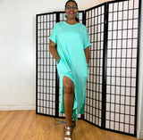 Nakidbird-Plus Size Short Sleeve T-Shirt Dress With Pockets -[handmade plus sized fashion]-free shipping-Nakidbird