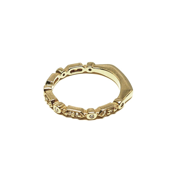 Deco Hex & Bezel Ring