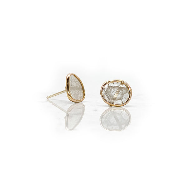 Raw Diamond Slice Earrings