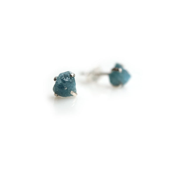 Raw Aquamarine Birthstone Studs
