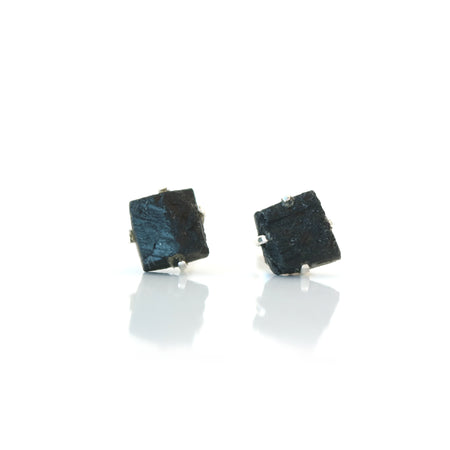 Silver and Pyrite Earring Studs