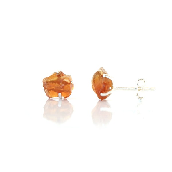 Raw Citrine Birthstone Studs
